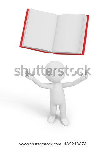 A 3d person looking upon an opened book