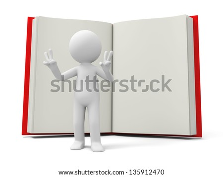 A 3d person making a V gesture back to a book - stock photo