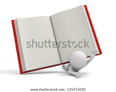 A 3d person pressed by a red opened book - stock photo