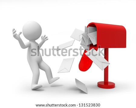 A 3d person surprised at a lot of letters in the mail box - stock photo