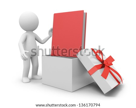 a 3d person taking a book from a gift box