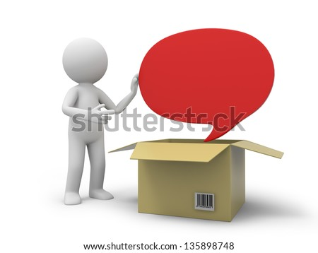 A 3d person taking a message board from a box - stock photo