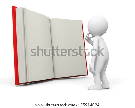 A 3d person thinking face to an opened book - stock photo