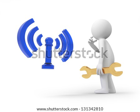 A 3d person thinking in front of the wifi symbol