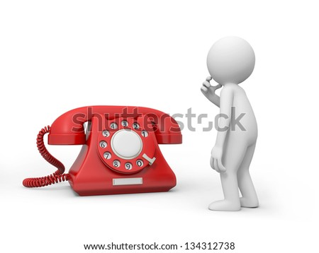 A 3d person thinking nearby a phone call - stock photo