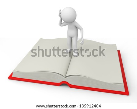 A 3d person thinking on an opened book - stock photo