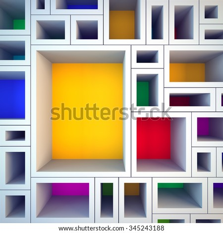 A 3d render illustration blank template layout of colored shelves. Empty copy space to place your text, object, or logo. - stock photo