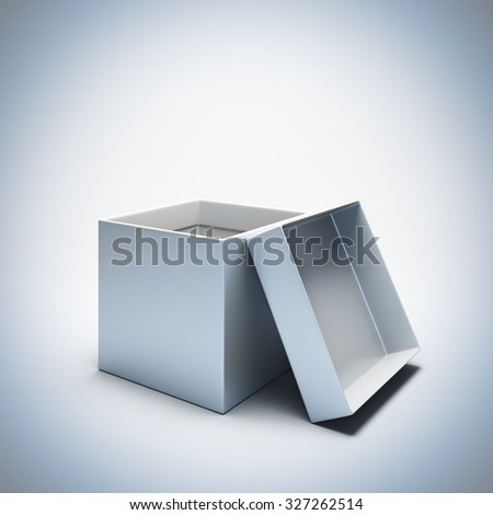 A 3d render illustration blank template layout of empty white opened gift box. Empty copy space to place your text, object or logo. - stock photo