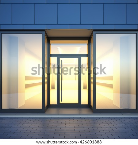 A 3d render illustration blank template layout of store facade with light interior from glass shop windows. Storefront surface empty to place your text, banner, placard, advertising or logo. - stock photo