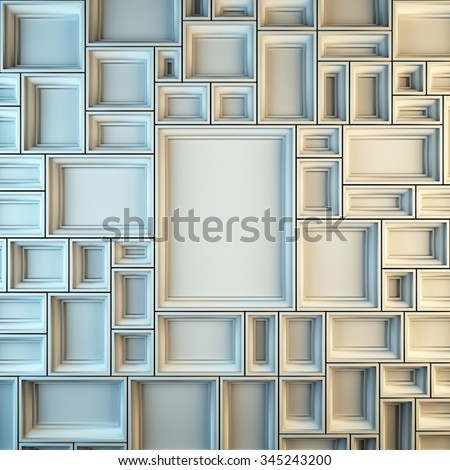 A 3d render illustration blank template layout of white empty frames at wall. Empty copy space to place your photo, picture or logo. - stock photo