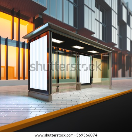 A 3d render illustration mockup of modern bus stop station with blank citylights. Billboard copy space empty to place advertisement, poster, image, text or logo. - stock photo