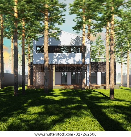 A 3d render illustration of contemporary minimalist house placed between pines. - stock photo