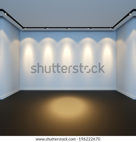 A 3D render illustration of empty white room with spotlight lamps. - stock photo