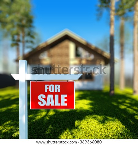 A 3D render illustration of Home For Sale sign in front of new chalet house. - stock photo