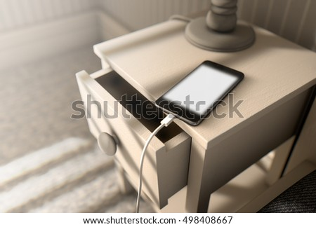 A 3D render of a bedroom with a side table next to a bed and an illuminated cellphone charging on it in the bright morning sunlight