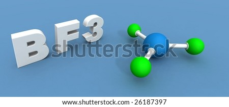 a 3d render of a boron trifluoride - stock photo
