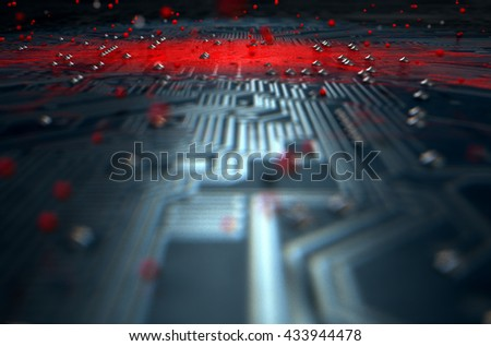 A 3D render of a macro view of a circuit board with a red apparent infection virus spreading from the center on a dark background - stock photo