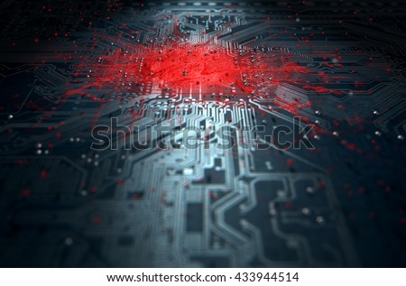 A 3D render of a macro view of a circuit board with a red apparent infection virus spreading from the center on a dark background