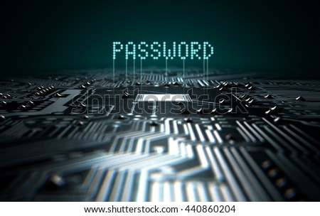 A 3D render of a macro view of a circuit board with blue digital text projecting above it saying password on a dark background