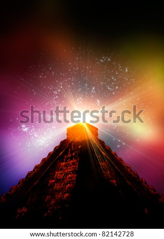 A 3d render of a Mayan temple with light effects emanating from the top