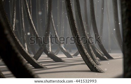 A 3D render of a microscopic closeup view of strands of textured hair rooted in skin on a scalp on a dark background
