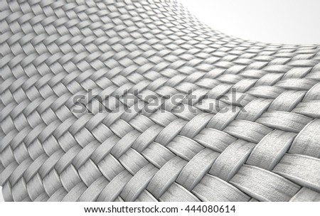 A 3D render of a microscopic view of a simple woven textile on a white background - stock photo
