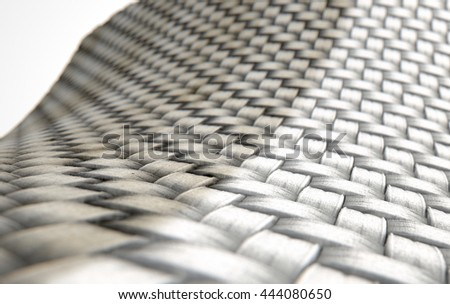 A 3D render of a microscopic view of a simple woven textile split into a dirty grubby half and a clean white comparison