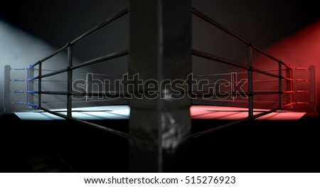 A 3D render of a modern boxing ring concept with opposing corners spotlit in contrasting conflicting colors on a dark background