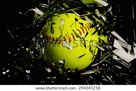 a 3d render of a softball breaking glass against a black background - stock photo