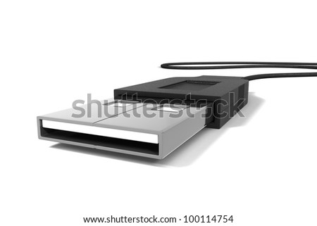A 3d render of a usb device and cable