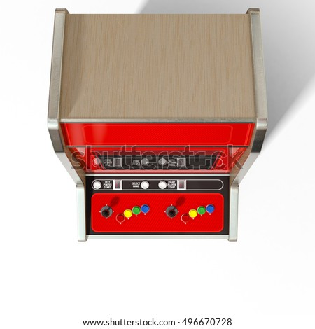 A 3D render of a vintage red unbranded arcade machine with controls and buttons and a blank screen on an isolated white background