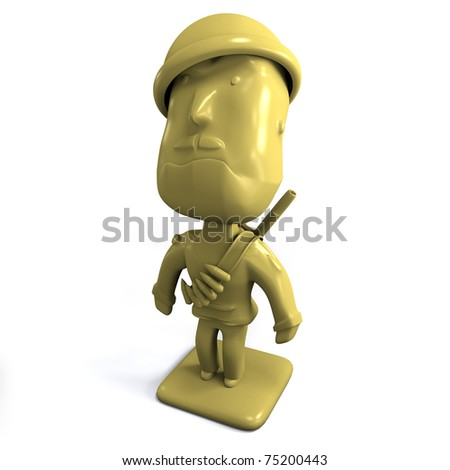 A 3D render of a yellow army man; isolated on white Background - stock photo