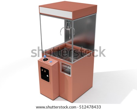 A 3D render of an empty arcade type claw grabber game on an isolated white background