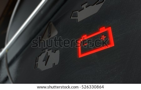 A 3D render of an extreme closeup of an illuminated check battery dashboard light on an dashboard panel background