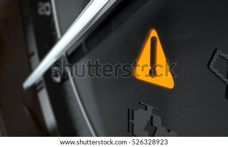 A 3D render of an extreme closeup of an illuminated general warning dashboard light on an dashboard panel background