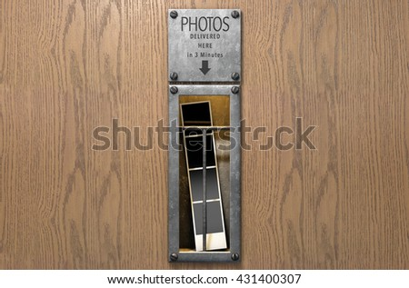 A 3D render of an illuminated vintage photo booths retrieval slot with a photo strip in it on a wood finished surface