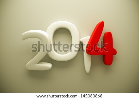 a 3d render of 2014 clay digits - stock photo