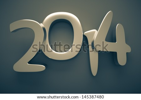 a 3d render of 2014 metal digits - stock photo
