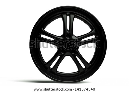 a 3d render of modern car wheel on white - stock photo