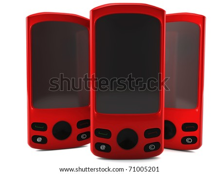 A 3D render of  red cell phones isolated on white - stock photo