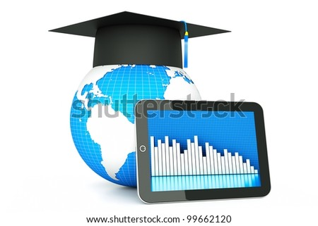 a 3d render of tablet pc with globe in a cap, expert concept or idea - stock photo