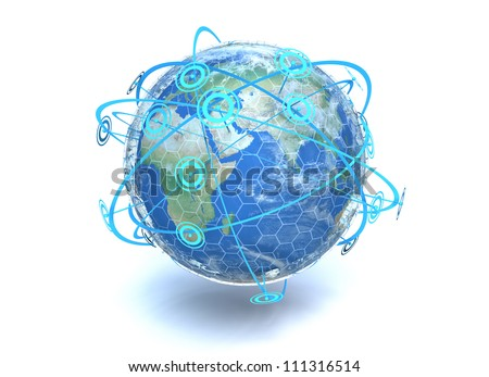 A 3D render of the earth showing crossing network communication lines around the globe - stock photo