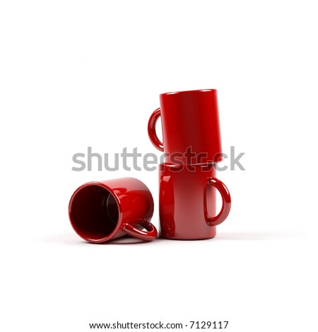 A 3-d render of three red cups