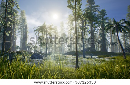 A 3D render of what Hell Creek may have looked like. Hell Creek was sub-tropical, home of Tyrannosaurus rex, and housed many different trees and plants including the Sequoia, Conifer, Palm, and Fern. - stock photo