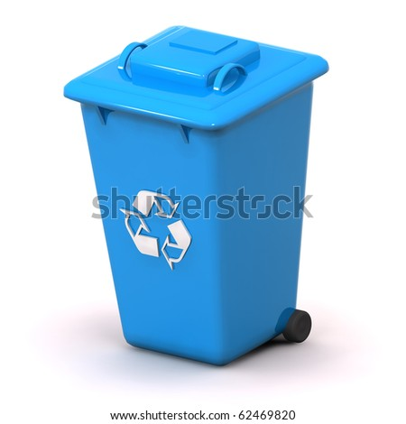 A 3d Rendered Blue Recycle Bin