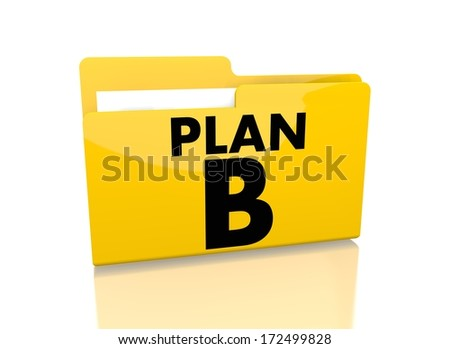 a 3d rendered icon showing a file folder with a plan b symbol on it isolated on white background - stock photo