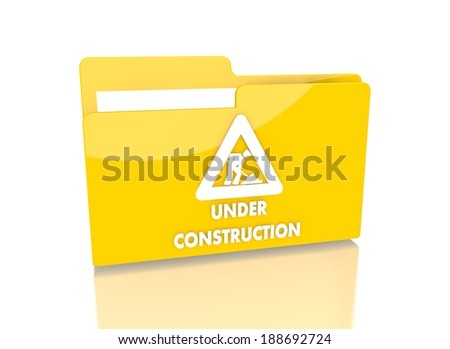 a 3d rendered icon showing a file folder with a under construction sign on it isolated on white background