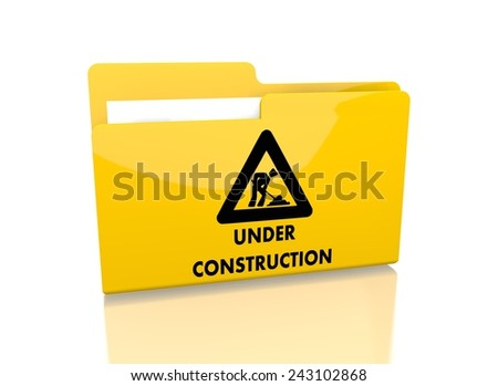a 3d rendered icon showing a file folder with a under construction symbol on it isolated on white background