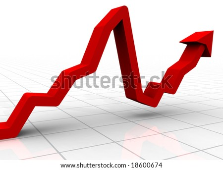 A 3D rendered illustration of a bar graph on a white background showing a market crash followed by a recovery - stock photo