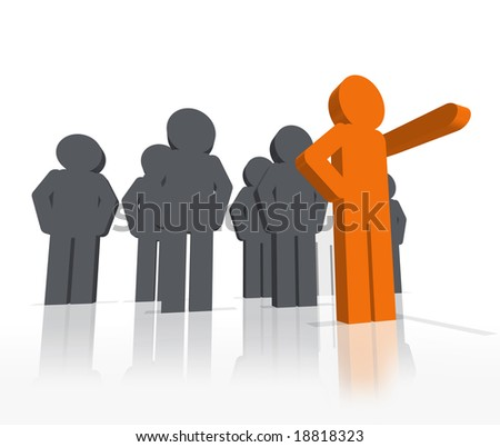 a 3D rendered illustration of a group of workers being lead by stand out, different colored leader pointing the way forward